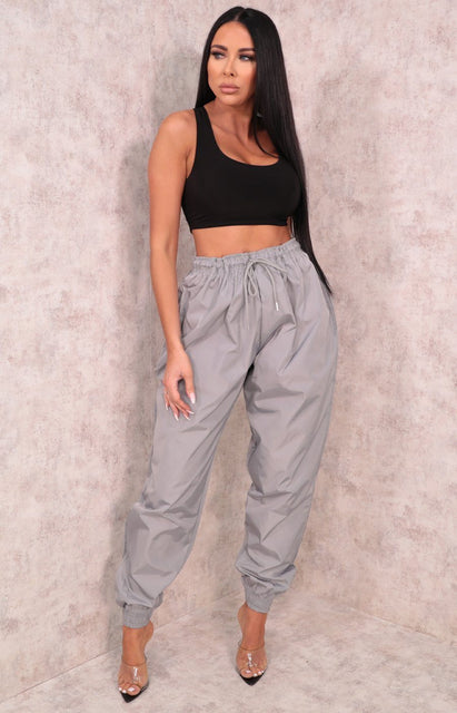 Grey Shellsuit Elasticated Cuffed Joggers - Ashby