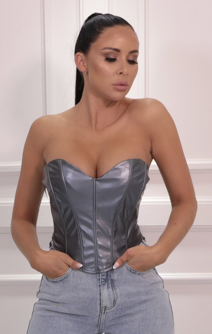 Grey Silver Strapless Corset Crop Top - Melli