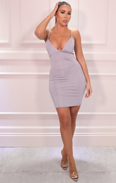 Grey Slinky Plunge Bodycon Mini Dress - Orsa