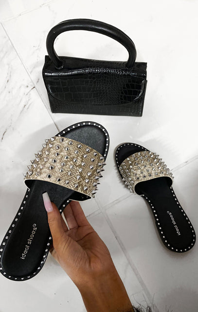 Grey Snake Print Faux Leather Studded Sandals - Paige