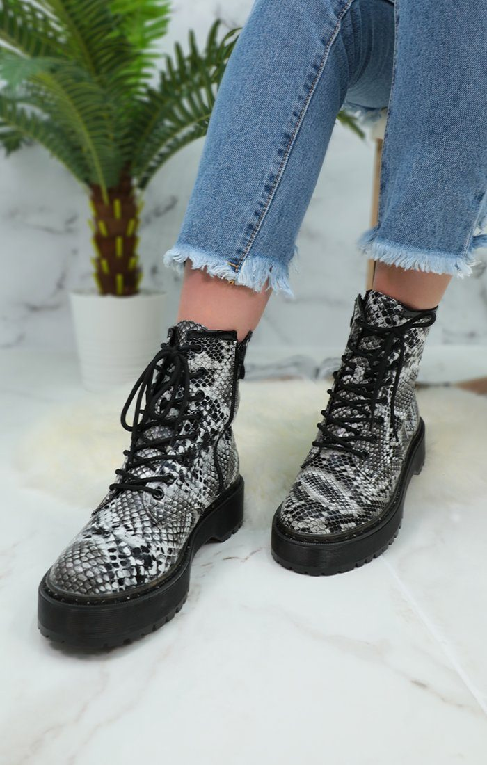 Grey Snake Print Lace Up Chunky Boots - Moss