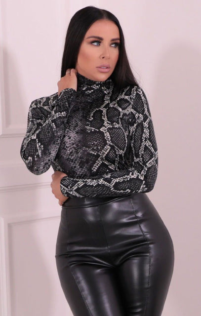 Grey Snake Print Turtleneck Sequin Bodysuit - Louise