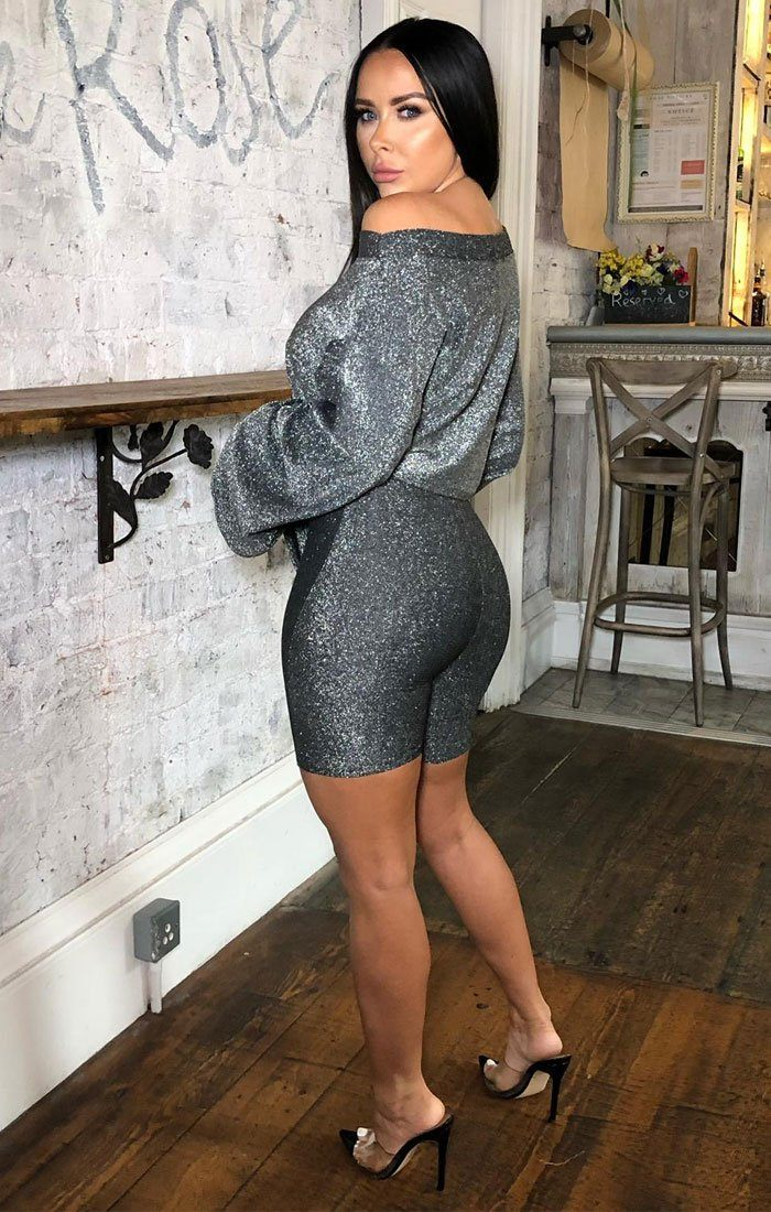 Grey Sparkly Cycling Shorts Co-ord - Harley