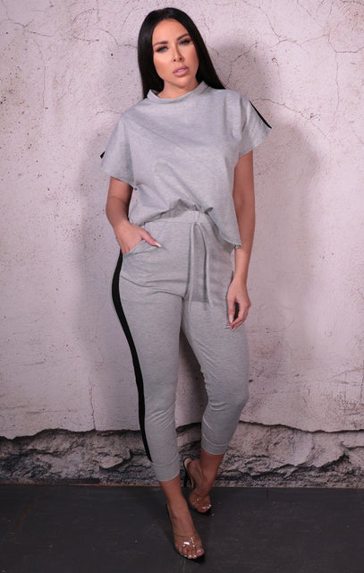 Grey Stripe Boxy Top Loungewear Two Piece Set - Ashley