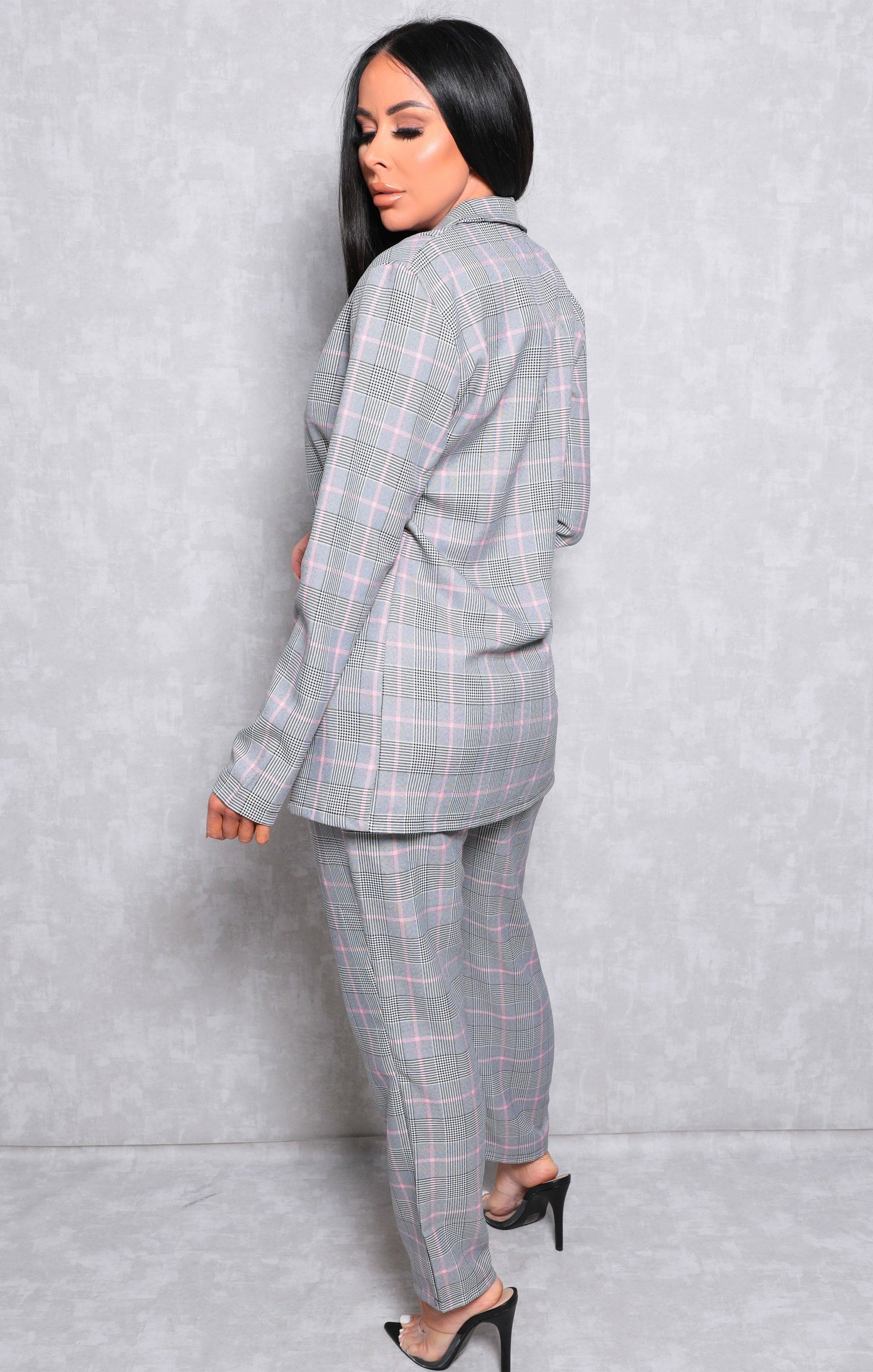 Grey Tartan High Waisted Slim Leg Trousers - Thalia