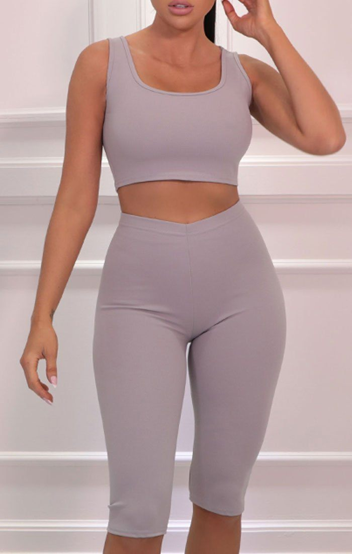 Grey Thick Strap Top Cropped Cycling Shorts Co-ord - Davina