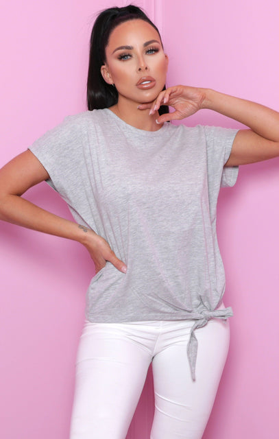 Grey Tie Front Crew Neck Top - Astrid