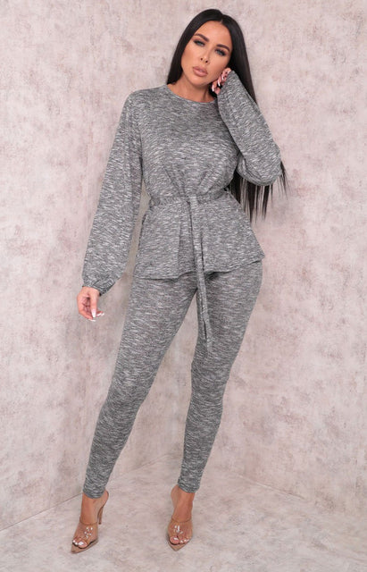Grey Tie Front Cuffed Sleeve Leggings Loungewear Set - Eliza