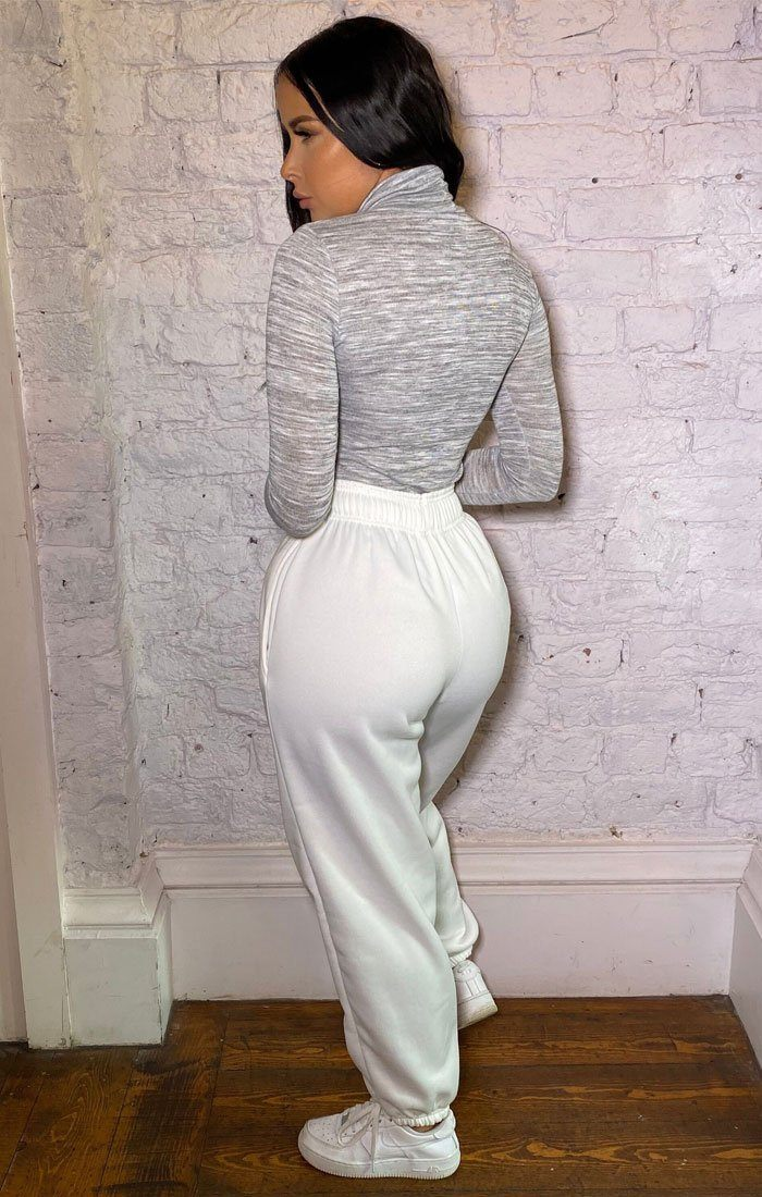 Grey Turtleneck Long Sleeve Bodysuit - Kelton