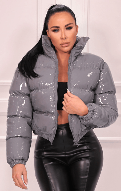 Grey Vinyl High Shine Padded Puffer Jacket - Aimee