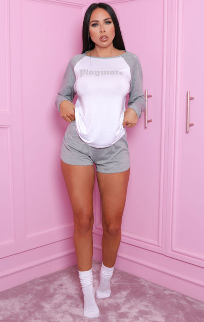 Grey & White 'Playmate' Slogan Print Shorts Pyjama Set - Alaia
