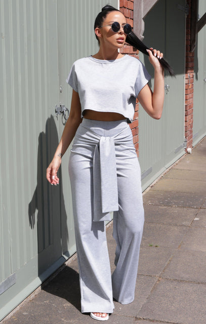 Grey Wide Leg Tie Waist Loungewear Set - Sophia