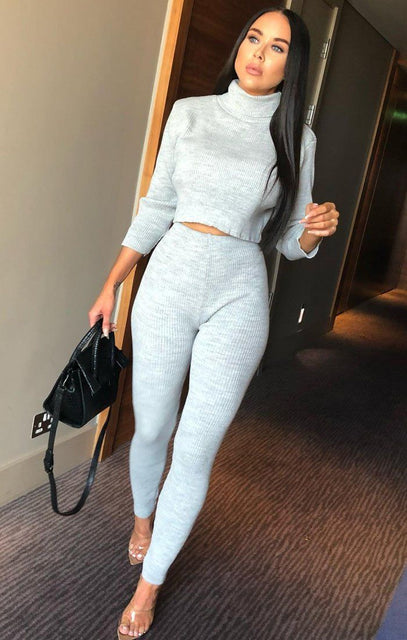 Grey High Neck Cropped Loungewear Set - Ella