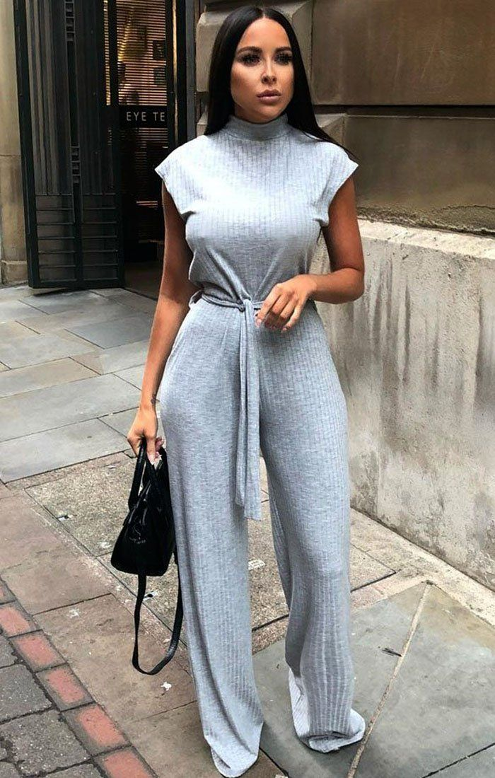 72dc322d29d6 Grey High Neck Ribbed Jumpsuit - Yasmine