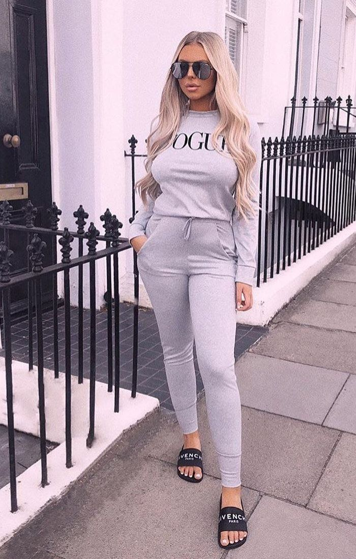 Grey Vogue Print Loungewear Set - Miley sets Femme Luxe S/M(8/10)