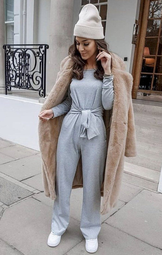 6aeaa8f5c9f Grey Cold Shoulder Long Sleeve Jumpsuit - Hattie