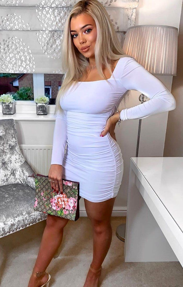 51c389600d6a White Slinky Square Neck Ruched Bodycon Dress | Dresses | Femme Luxe ...