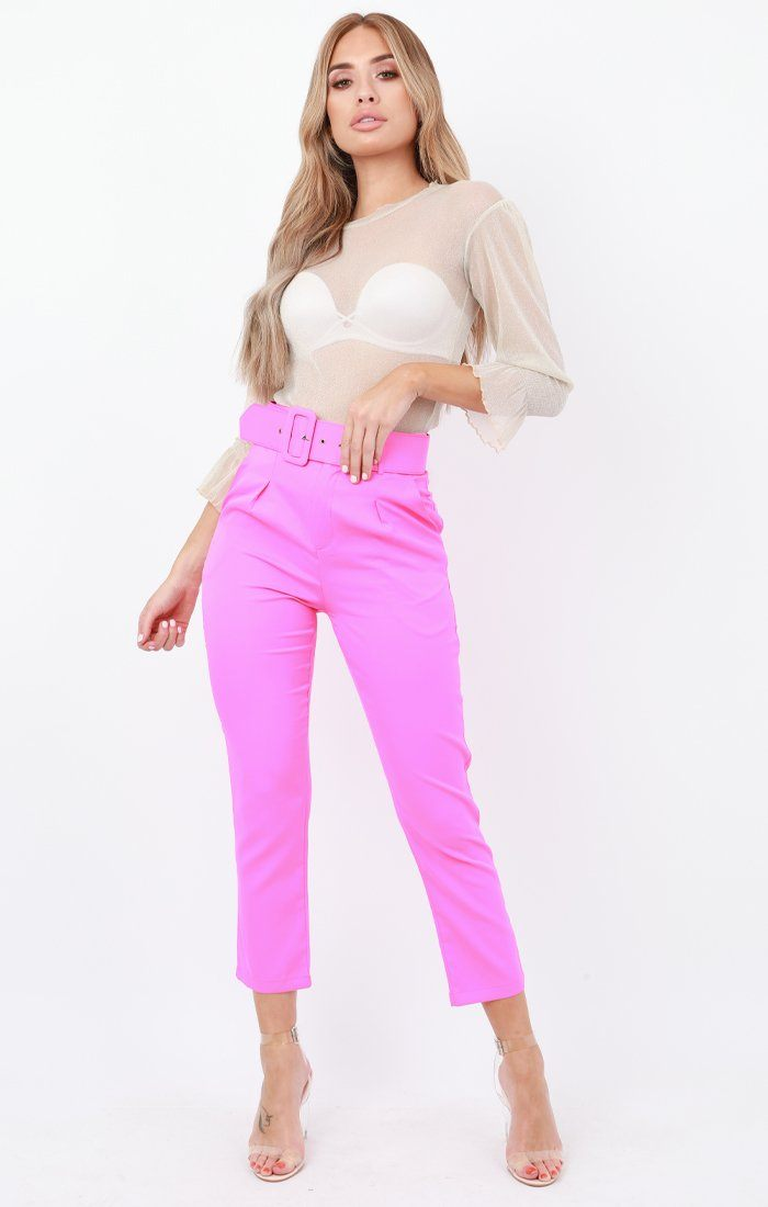 Hot Pink Belted Tapered Trousers - Amber