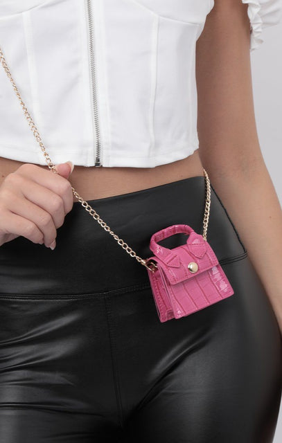 Hot Pink Croc Print Super Mini Bag - Elvira