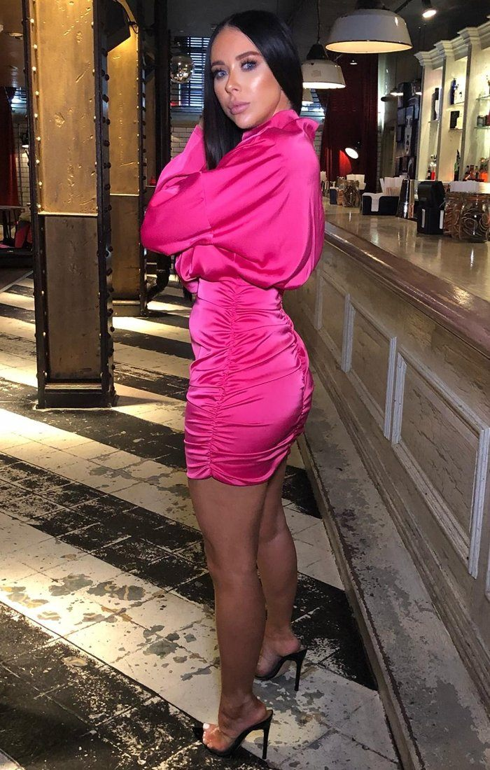 Hot Pink Satin Draped Mini Dress - Tatiana