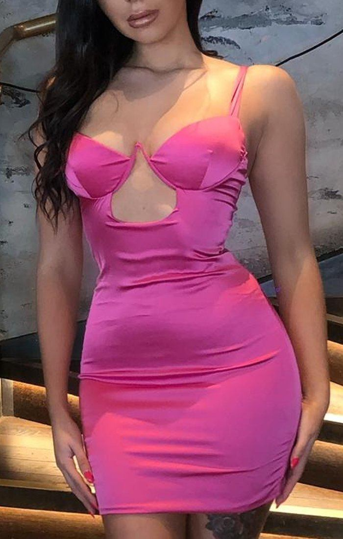Hot Pink Wired Cut Out Bodycon Dress - Sky