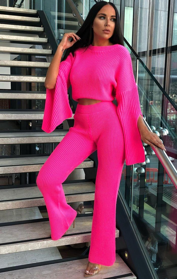 Neon Pink Oversized Split Sleeve Top Co-Ord Set - Ash
