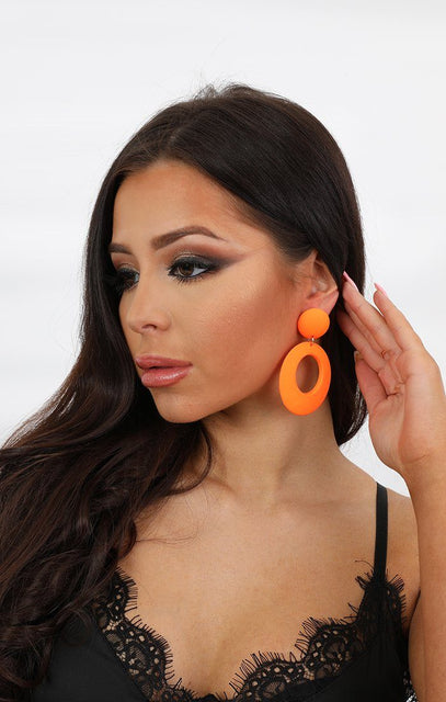 Neon Orange Hoop Earring - Jessie