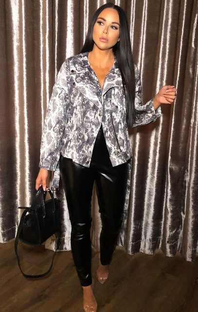 Animal Snake Print Biker Jacket - Pearl