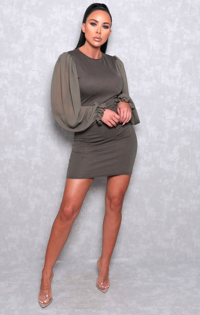 Khaki Bodycon Puff Sleeve Mini Dress - Amiie