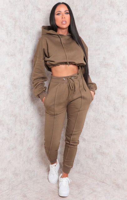 Khaki Boxy Cropped Hoodie Cuffed Joggers Loungewear Set - Cailleigh