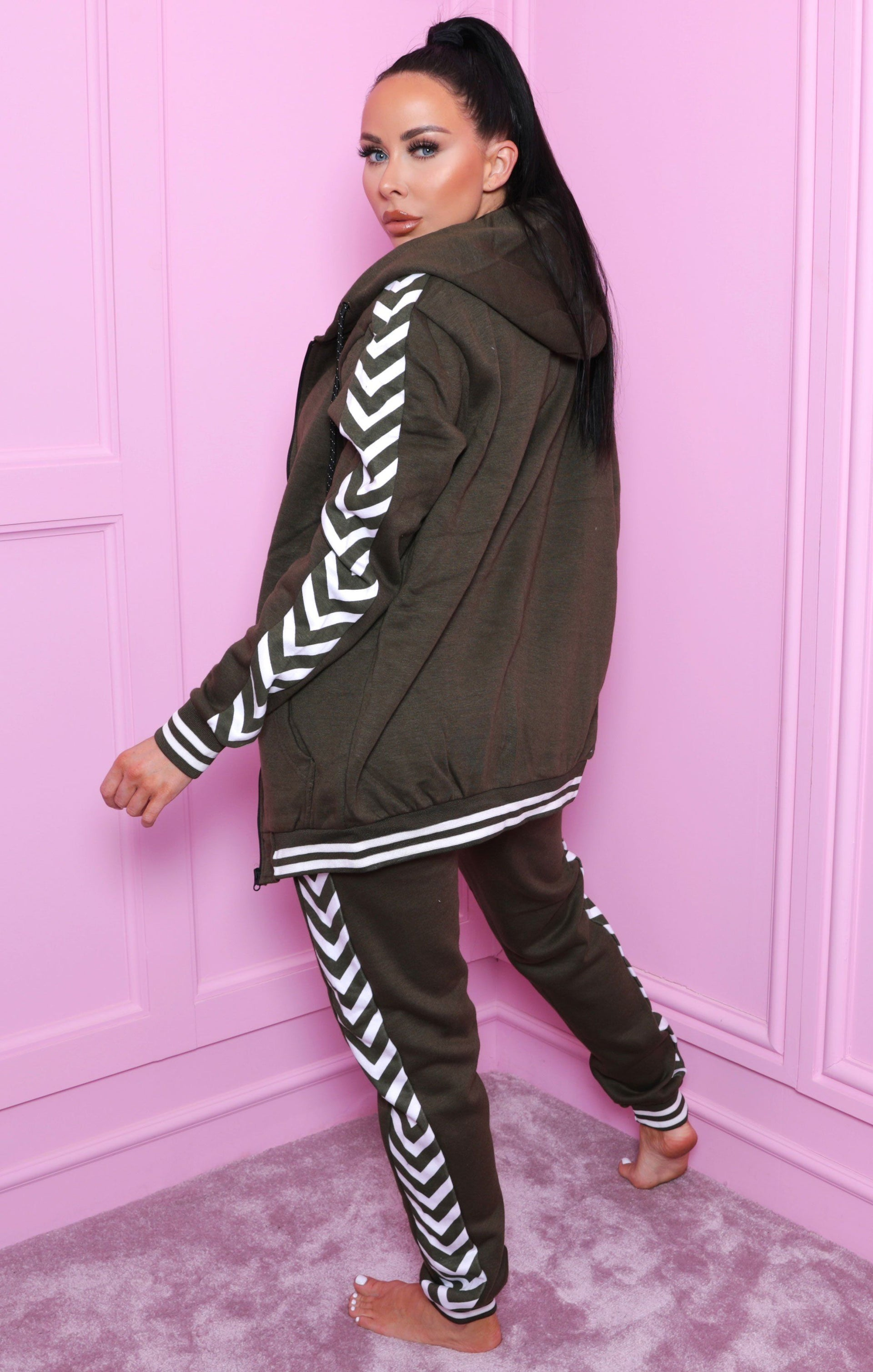 Khaki Chevron Print Zip Up Loungewear Set - Kris