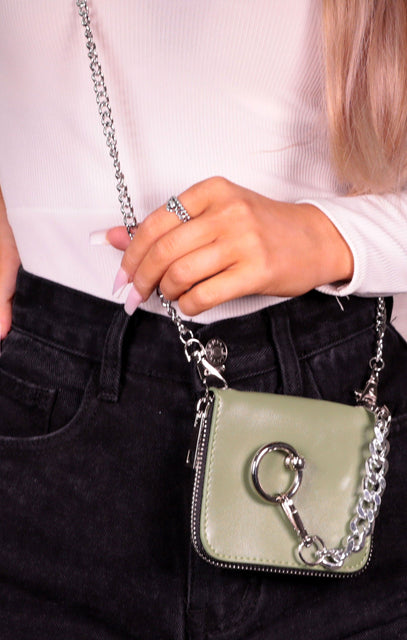 Khaki Chunky Chain Hoop Detail Mini Bag - Mada