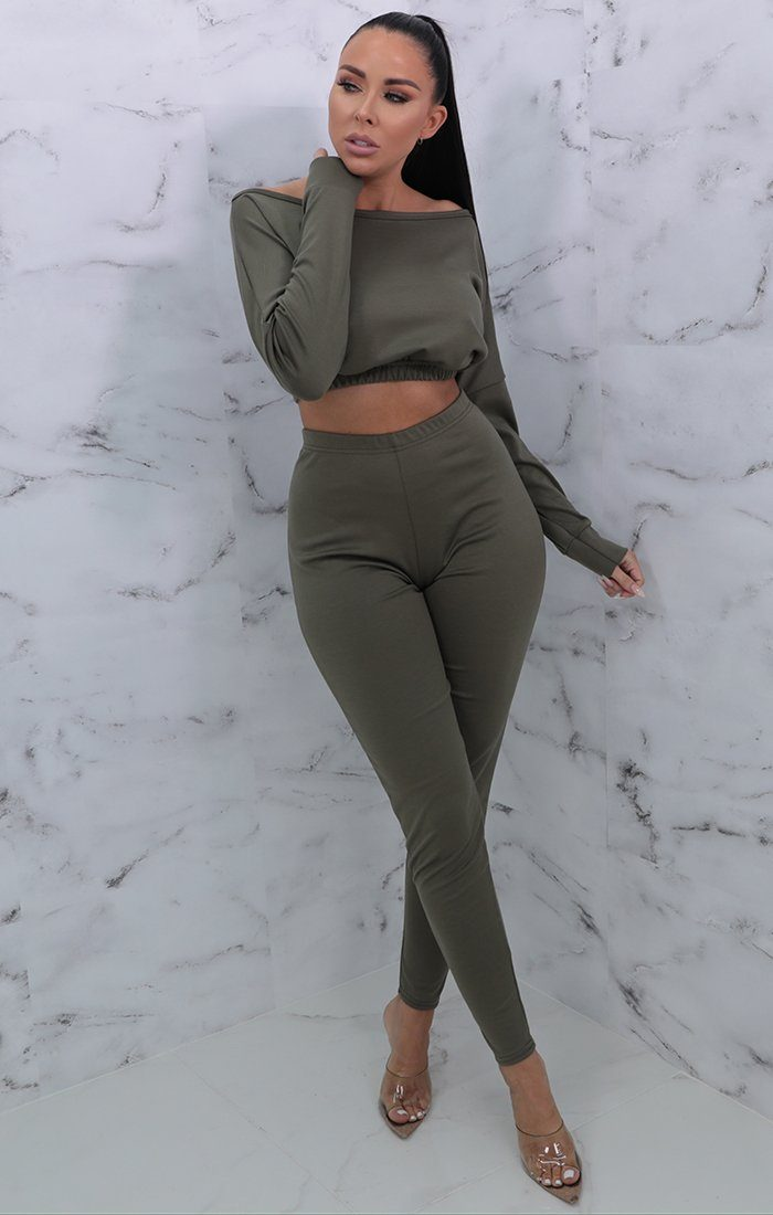 Khaki Crew Neck Cropped Loungewear Set - Lola