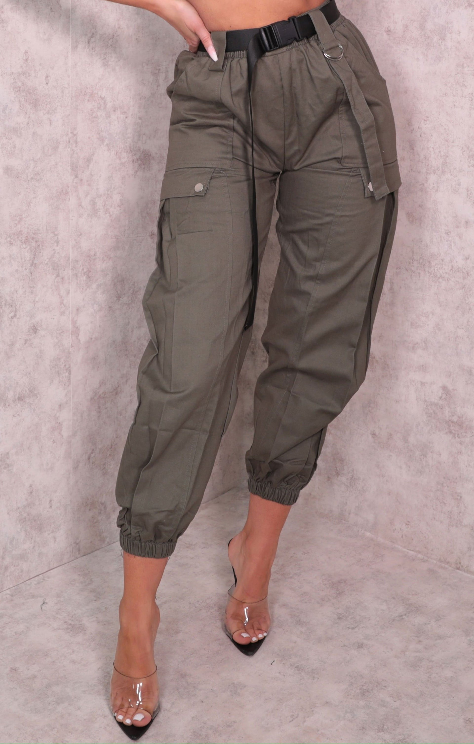 Khaki Cuffed Pocket Detail Utility Belt Cargo Slim Leg Trousers - Dalia