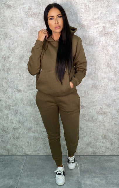 Khaki Hoodie Cuffed Joggers Loungewear Set - Bellamy