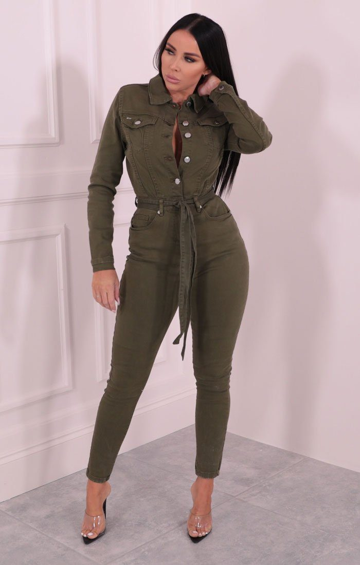 Khaki Long Sleeve Belted Button Up Denim Jumpsuit - Kaz