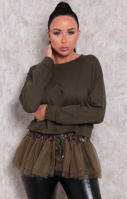 Khaki Long Sleeve Sweatshirt Tulle Top - Eros