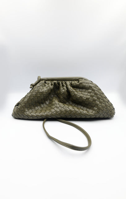 Khaki Matte Woven Ruched Mini Bag - Jolene