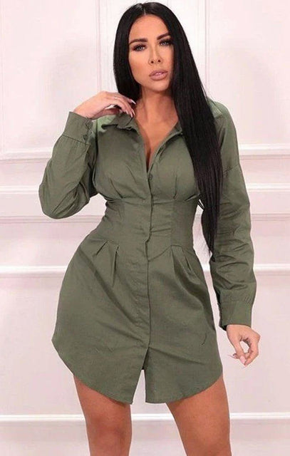 Khaki Pleated Long Sleeve Shirt Mini Dress - Kelby