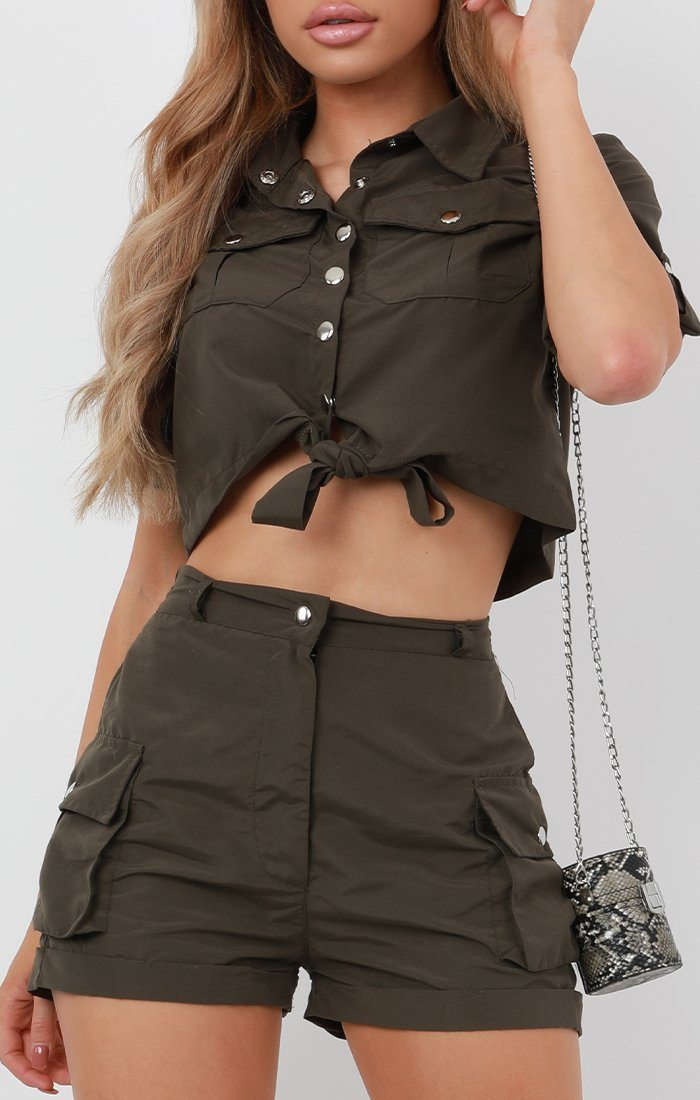 Khaki Pop Button Shorts Co-Ord - Andrea