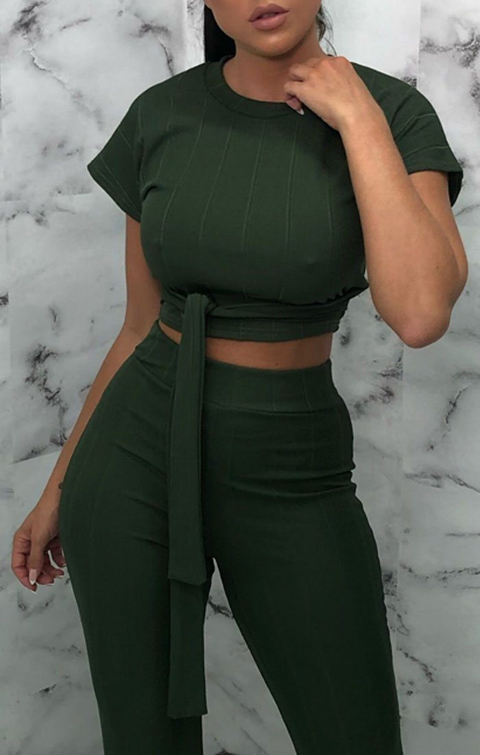 Khaki Ribbed Belted Co-Ord - Alannah