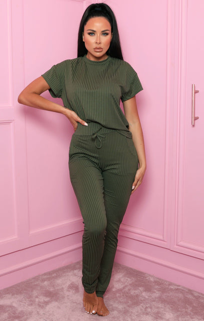 Khaki Ribbed Crew Neck Loungewear Set - Alani