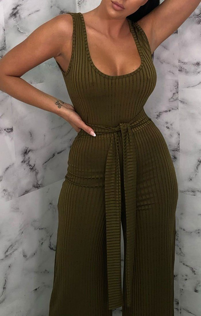 Khaki Ribbed Culotte Jumpsuit - Catalyn