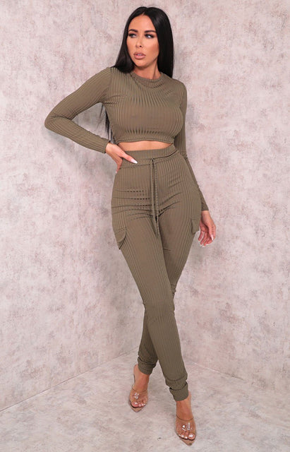 Khaki Ribbed Pocket Detail Loungewear Set - Laura