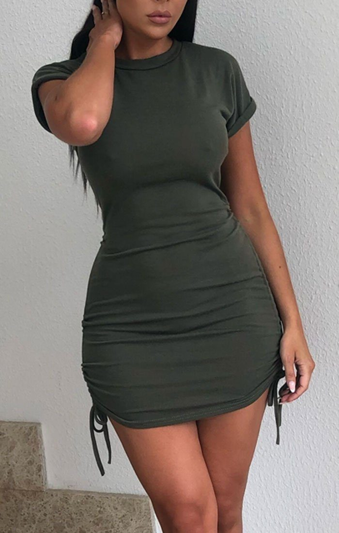 Khaki Ruched Side Crew Neck Bodycon Mini Dress - Grazia