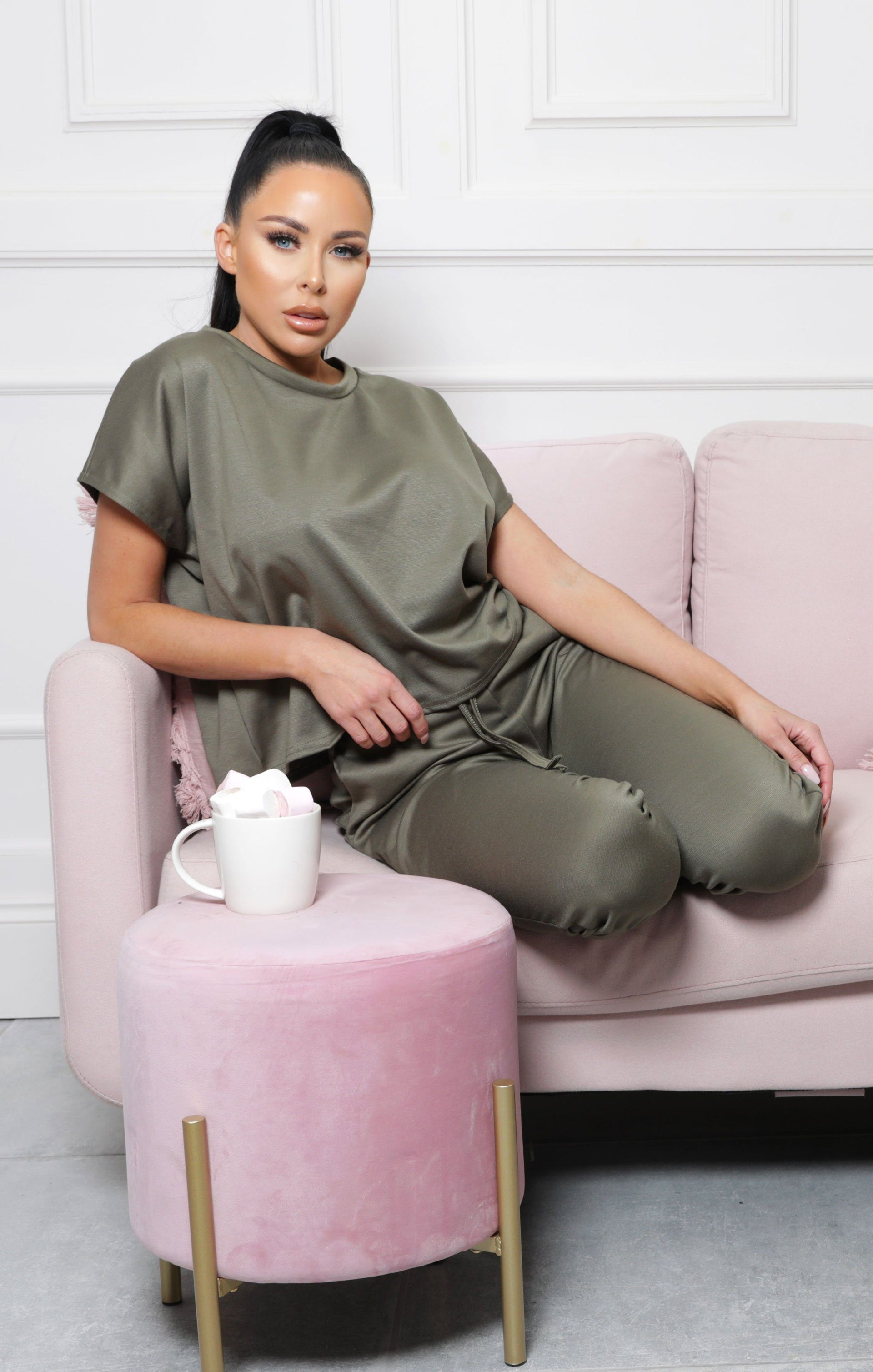 Khaki Short Sleeve Boxy Loungewear Set - Lacy