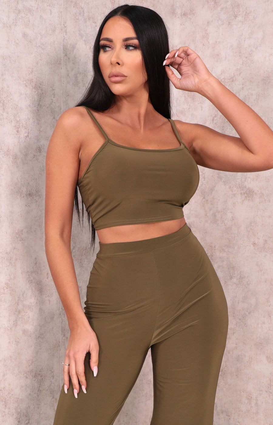 Khaki Slinky Strappy Crop Top - Wolf