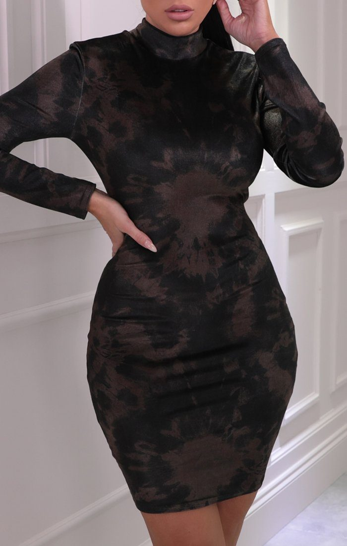 Khaki Tie Dye Velvet Bodycon Mini Dress - Kamayah