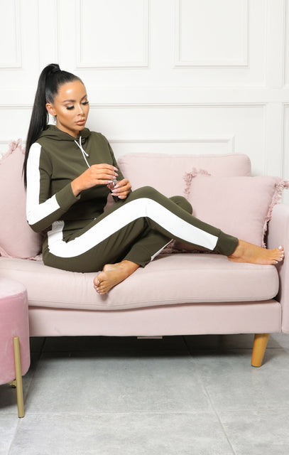 Khaki With White Stripe Loungewear Set – Lexi
