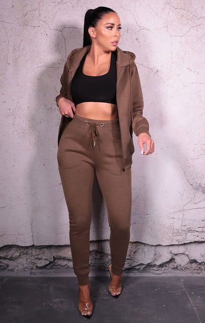 Khaki Zip Up Hoodie Cuffed Joggers Loungewear Set - Sibyl